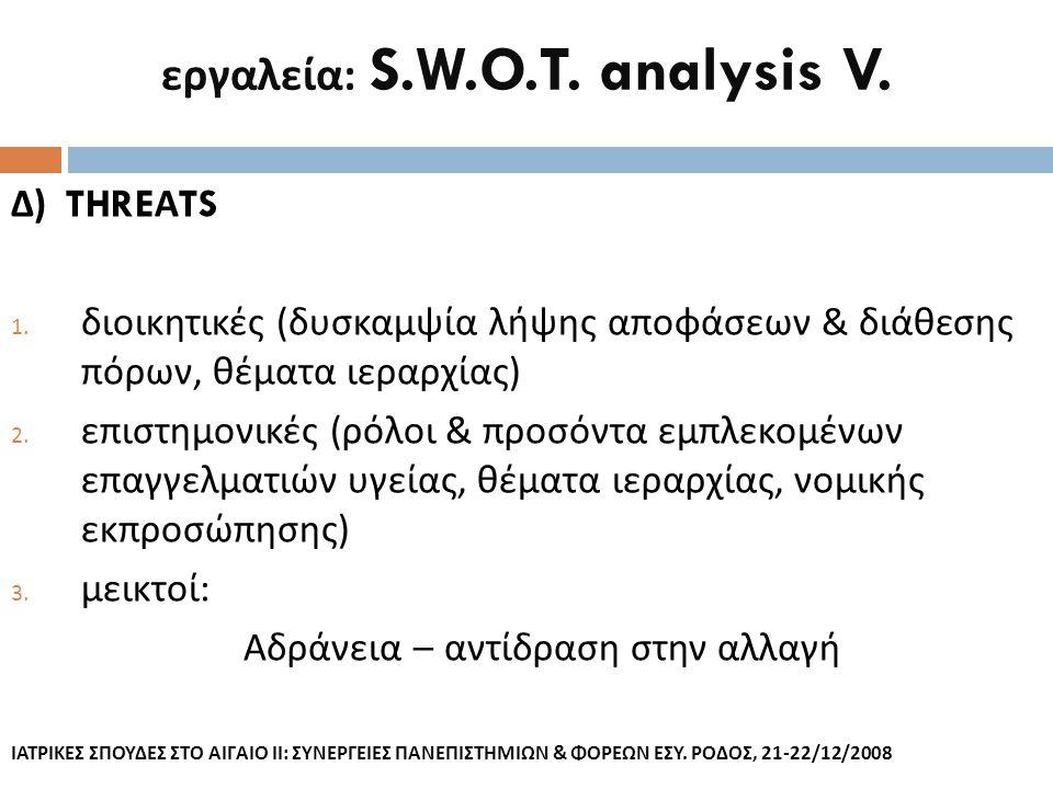 εργαλεία : S.W.O.T. analysis V. Δ ) THRE Α TS 1. διοικητικές ( δυσκαμψία λήψης αποφάσεων & διάθεσης πόρων, θέματα ιεραρχίας ) 2. επιστημονικές ( ρόλοι