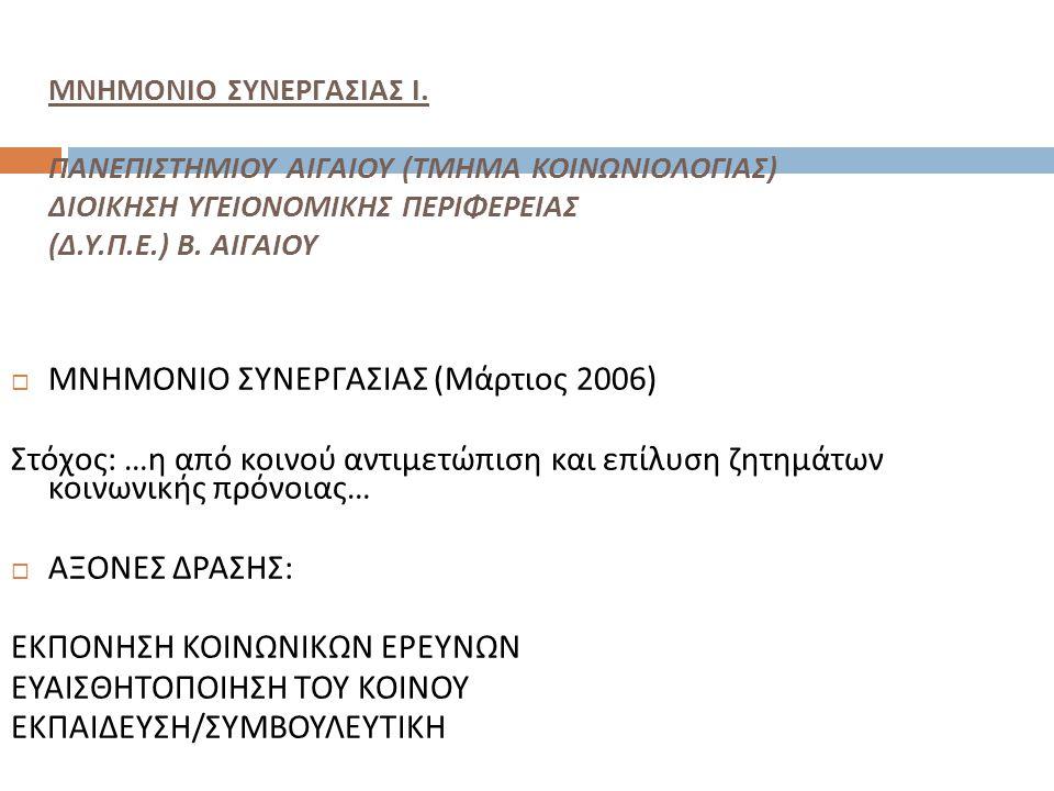 ΜΝΗΜΟΝΙΟ ΣΥΝΕΡΓΑΣΙΑΣ Ι. ΠΑΝΕΠΙΣΤΗΜΙΟΥ ΑΙΓΑΙΟΥ ( ΤΜΗΜΑ ΚΟΙΝΩΝΙΟΛΟΓΙΑΣ ) ΔΙΟΙΚΗΣΗ ΥΓΕΙΟΝΟΜΙΚΗΣ ΠΕΡΙΦΕΡΕΙΑΣ ( Δ. Υ. Π. Ε.) Β. ΑΙΓΑΙΟΥ  ΜΝΗΜΟΝΙΟ ΣΥΝΕΡΓΑΣ