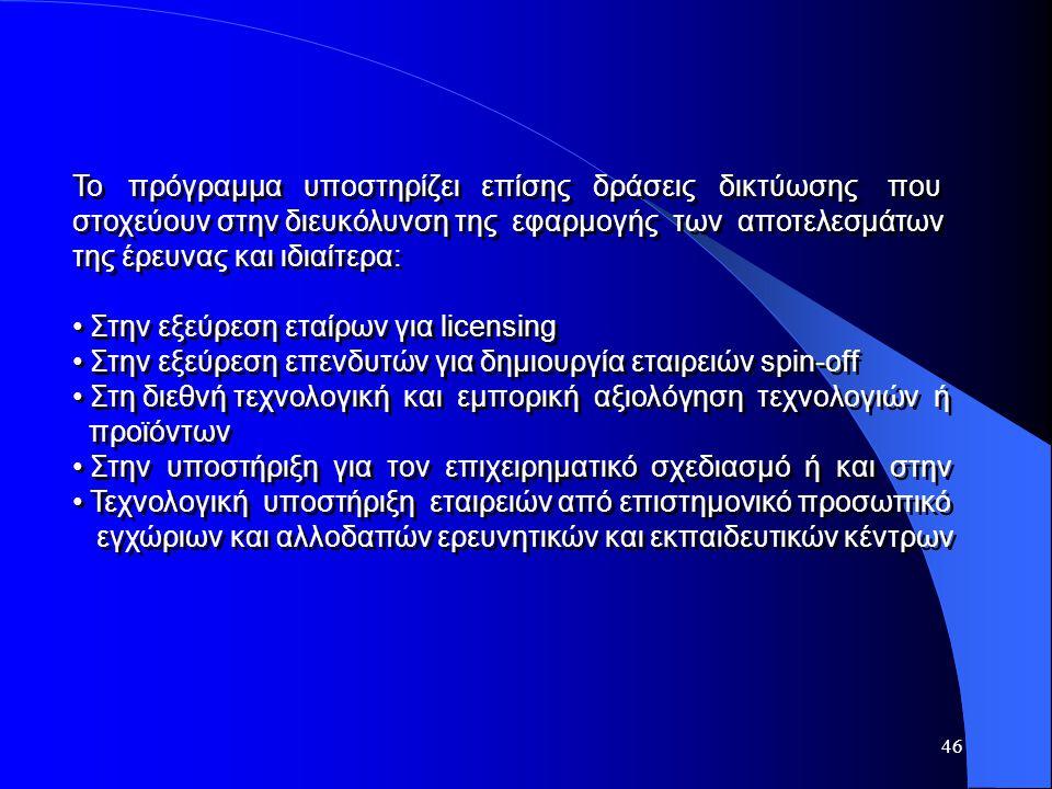 46 Το πρόγραμμα υποστηρίζει επίσης δράσεις δικτύωσης που στοχεύουν στην διευκόλυνση της εφαρμογής των αποτελεσμάτων της έρευνας και ιδιαίτερα: Στην εξ