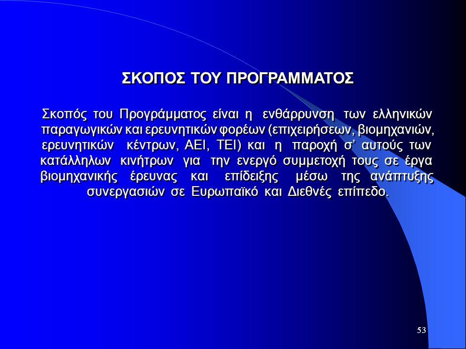 53 ΣΚΟΠΟΣ ΤΟΥ ΠΡΟΓΡΑΜΜΑΤΟΣ Σκοπός του Προγράμματος είναι η ενθάρρυνση των ελληνικών παραγωγικών και ερευνητικών φορέων (επιχειρήσεων, βιομηχανιών, ερε