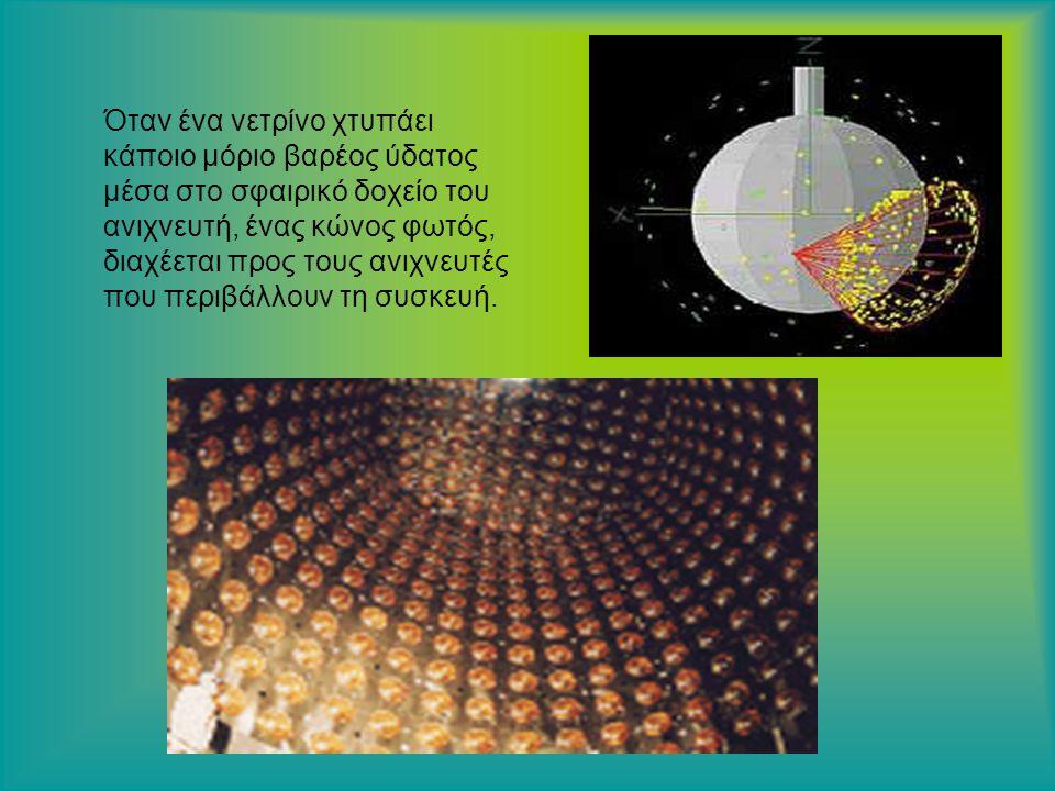 Όταν ένα νετρίνο χτυπάει κάποιο μόριο βαρέος ύδατος μέσα στο σφαιρικό δοχείο του ανιχνευτή, ένας κώνος φωτός, διαχέεται προς τους ανιχνευτές που περιβάλλουν τη συσκευή..