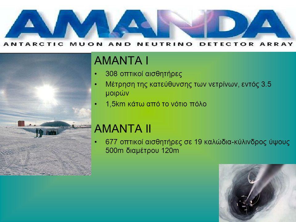 ΑΜΑΝΤΑ Ι 308 οπτικοί αισθητήρες Μέτρηση της κατεύθυνσης των νετρίνων, εντός 3.5 μοιρών 1,5km κάτω από το νότιο πόλο AMANTA II 677 οπτικοί αισθητήρες σε 19 καλώδια-κύλινδρος ύψους 500m διαμέτρου 120m