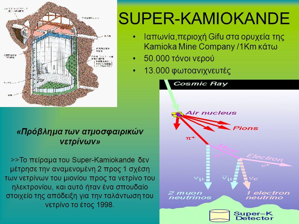 SUPER-KAMIOKANDE Ιαπωνία,περιoχή Gifu στα ορυχεία της Kamioka Mine Company /1Κm κάτω 50.000 τόνοι νερού 13.000 φωτοανιχνευτές «Πρόβλημα των ατμοσφαιρικών νετρίνων» >>Το πείραμα του Super-Kamiokande δεν μέτρησε την αναμενομένη 2 προς 1 σχέση των νετρίνων του μιονίου προς τα νετρίνο του ηλεκτρονίου, και αυτό ήταν ένα σπουδαίο στοιχείο της απόδειξη για την ταλάντωση του νετρίνο το έτος 1998.