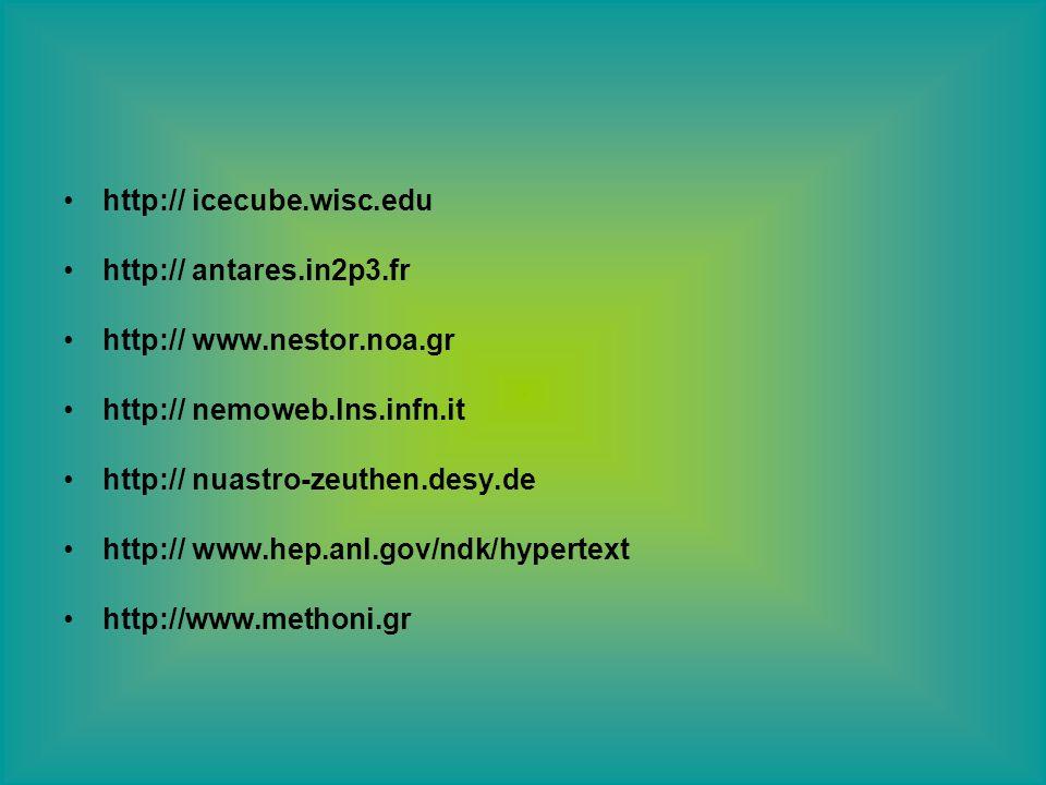 http:// icecube.wisc.edu http:// antares.in2p3.fr http:// www.nestor.noa.gr http:// nemoweb.lns.infn.it http:// nuastro-zeuthen.desy.de http:// www.hep.anl.gov/ndk/hypertext http://www.methoni.gr