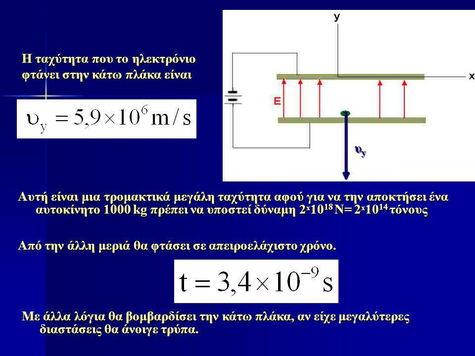 Η ταχύτητα που το ηλεκτρόνιο φτάνει στην κάτω πλάκα είναι Από την άλλη μεριά θα φτάσει σε απειροελάχιστο χρόνο. υyυyυyυy Αυτή είναι μια τρομακτικά μεγ