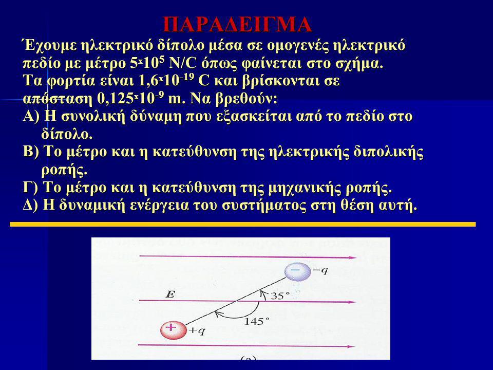 ΠΑΡΑΔΕΙΓΜΑ Έχουμε ηλεκτρικό δίπολο μέσα σε ομογενές ηλεκτρικό πεδίο με μέτρο 5 x 10 5 N/C όπως φαίνεται στο σχήμα. Τα φορτία είναι 1,6 x 10 -19 C και