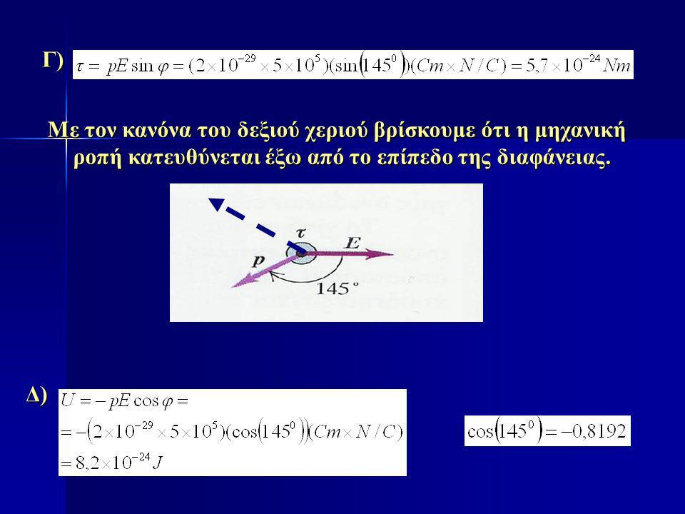 Γ) Με τον κανόνα του δεξιού χεριού βρίσκουμε ότι η μηχανική ροπή κατευθύνεται έξω από το επίπεδο της διαφάνειας. Δ)