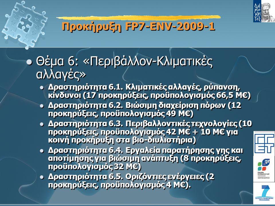 Προκήρυξη FP7-ENV-2009-1 Θέμα 6: «Περιβάλλον-Κλιματικές αλλαγές» Δραστηριότητα 6.1.