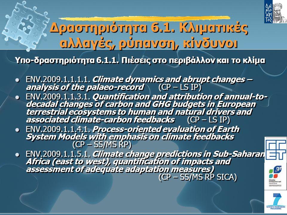 Δραστηριότητα 6.1.Κλιματικές αλλαγές, ρύπανση, κίνδυνοι Υπο-δραστηριότητα 6.1.1.