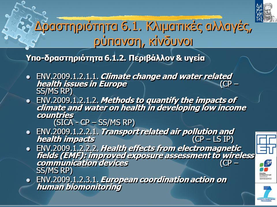 Υπο-δραστηριότητα 6.1.2. Περιβάλλον & υγεία ENV.2009.1.2.1.1.