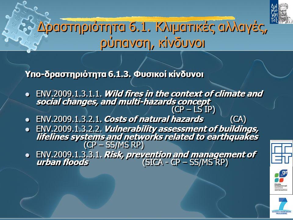 Υπο-δραστηριότητα 6.1.3. Φυσικοί κίνδυνοι ENV.2009.1.3.1.1.