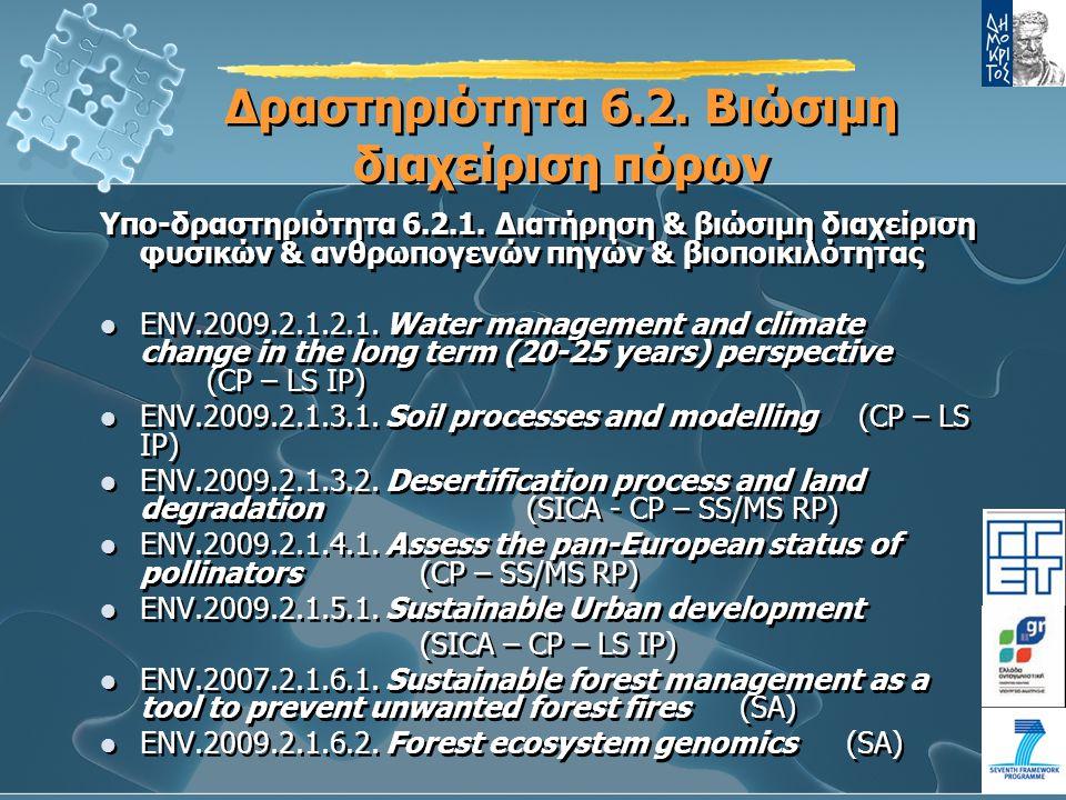 Δραστηριότητα 6.2.Βιώσιμη διαχείριση πόρων Υπο-δραστηριότητα 6.2.1.