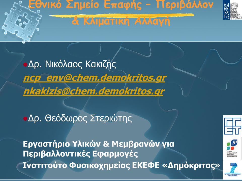 Προκήρυξη FP7-ENV-2009-1 Υπο-δραστηριότητες στο ειδικό πρόγραμμα «Περιβάλλον-Κλιματικές αλλαγές»: Υπο-δραστηριότητα 6.1.1.