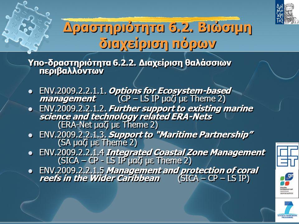 Δραστηριότητα 6.2.Βιώσιμη διαχείριση πόρων Υπο-δραστηριότητα 6.2.2.