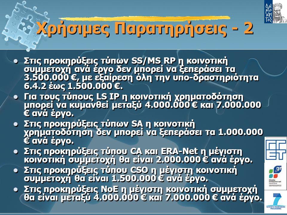 Χρήσιμες Παρατηρήσεις - 2 Στις προκηρύξεις τύπων SS/MS RP η κοινοτική συμμετοχή ανά έργο δεν μπορεί να ξεπεράσει τα 3.500.000 €, με εξαίρεση όλη την υπο-δραστηριότητα 6.4.2 έως 1.500.000 €.