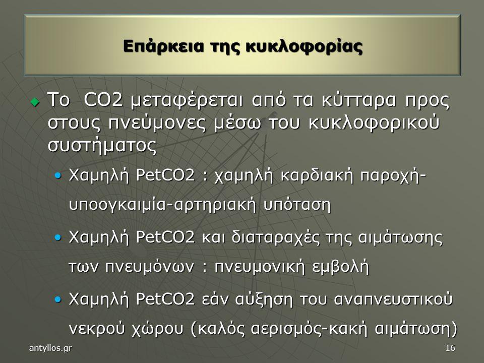  Το CO2 μεταφέρεται από τα κύτταρα προς στους πνεύμονες μέσω του κυκλοφορικού συστήματος Χαμηλή PetCO2 : χαμηλή καρδιακή παροχή- υποογκαιμία-αρτηριακή υπότασηΧαμηλή PetCO2 : χαμηλή καρδιακή παροχή- υποογκαιμία-αρτηριακή υπόταση Χαμηλή PetCO2 και διαταραχές της αιμάτωσης των πνευμόνων : πνευμονική εμβολήΧαμηλή PetCO2 και διαταραχές της αιμάτωσης των πνευμόνων : πνευμονική εμβολή Χαμηλή PetCO2 εάν αύξηση του αναπνευστικού νεκρού χώρου (καλός αερισμός-κακή αιμάτωση)Χαμηλή PetCO2 εάν αύξηση του αναπνευστικού νεκρού χώρου (καλός αερισμός-κακή αιμάτωση) Επάρκεια της κυκλοφορίας antyllos.gr16