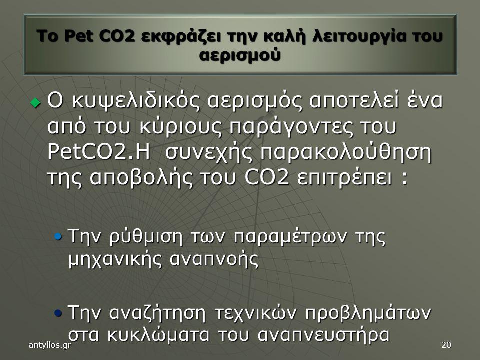  Ο κυψελιδικός αερισμός αποτελεί ένα από του κύριους παράγοντες του PetCO2.Η συνεχής παρακολούθηση της αποβολής του CO2 επιτρέπει : Την ρύθμιση των παραμέτρων της μηχανικής αναπνοήςΤην ρύθμιση των παραμέτρων της μηχανικής αναπνοής Την αναζήτηση τεχνικών προβλημάτων στα κυκλώματα του αναπνευστήραΤην αναζήτηση τεχνικών προβλημάτων στα κυκλώματα του αναπνευστήρα To Pet CO2 εκφράζει την καλή λειτουργία του αερισμού antyllos.gr20