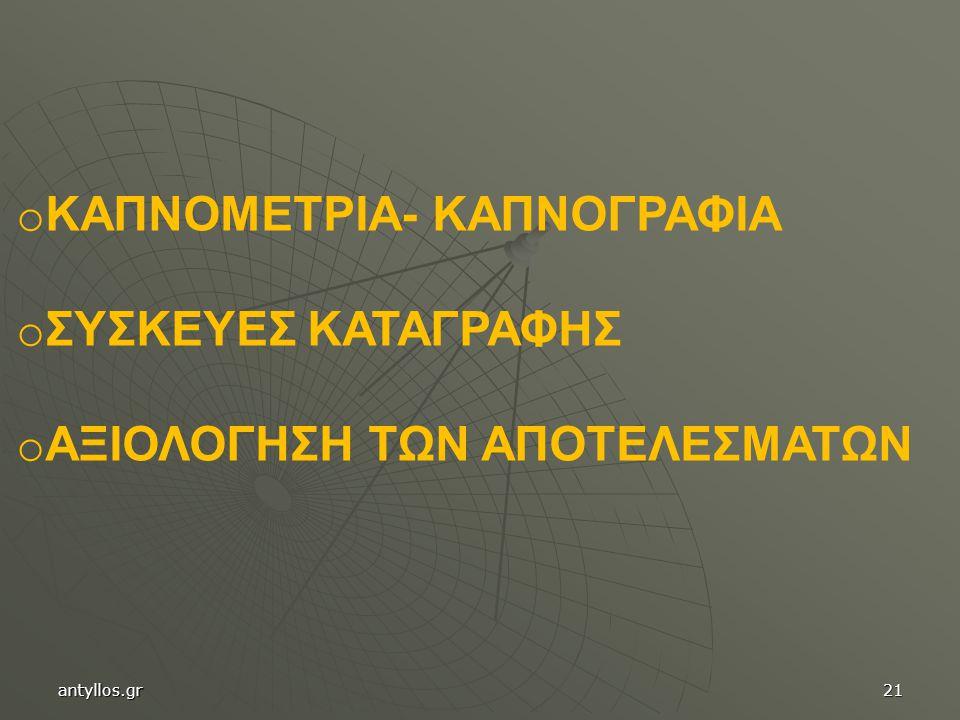 o ΚΑΠΝΟΜΕΤΡΙΑ- ΚΑΠΝΟΓΡΑΦΙΑ o ΣΥΣΚΕΥΕΣ ΚΑΤΑΓΡΑΦΗΣ o ΑΞΙΟΛΟΓΗΣΗ ΤΩΝ ΑΠΟΤΕΛΕΣΜΑΤΩΝ antyllos.gr21