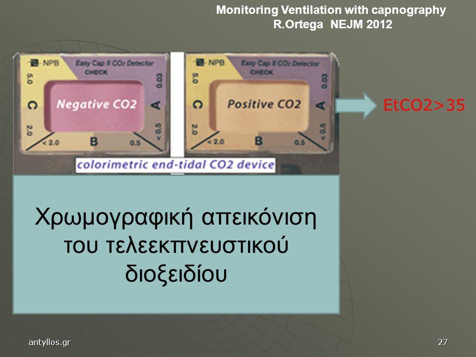 Χρωμογραφική απεικόνιση του τελεεκπνευστικού διοξειδίου EtCO2>35 Monitoring Ventilation with capnography R.Ortega NEJM 2012 antyllos.gr27