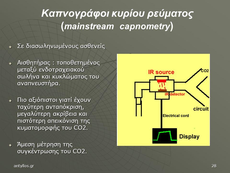 Kαπνογράφοι κυρίου ρεύματος ( mainstream capnometry )  Σε διασωληνωμένους ασθενείς  Αισθητήρας : τοποθετημένος μεταξύ ενδοτραχειακού σωλήνα και κυκλ