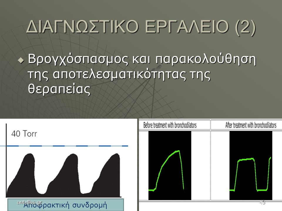 ΔΙΑΓΝΩΣΤΙΚΟ ΕΡΓΑΛΕΙΟ (2)  Βρογχόσπασμος και παρακολούθηση της αποτελεσματικότητας της θεραπείας Αποφρακτική συνδρομή antyllos.gr43