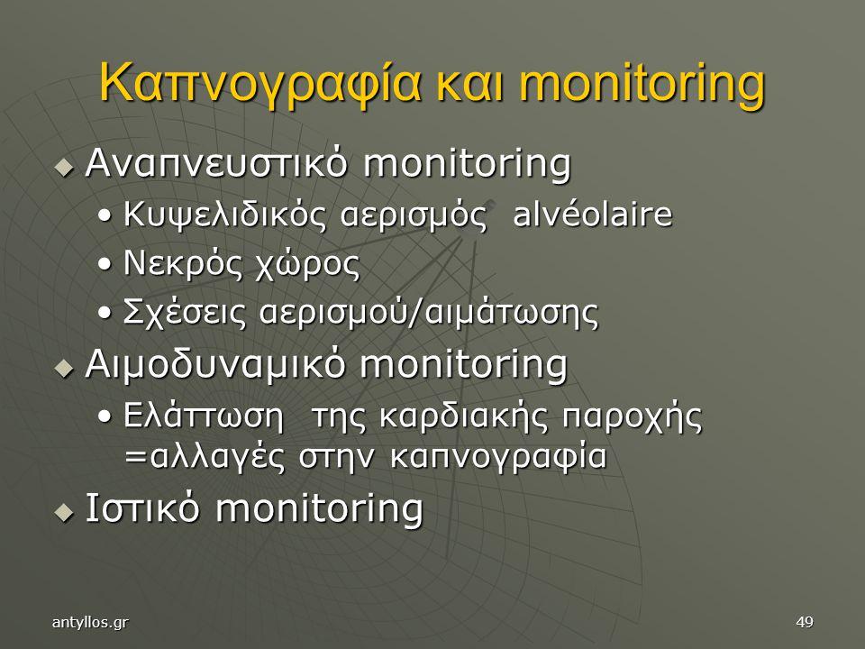 Καπνογραφία και monitoring  Αναπνευστικό monitoring Κυψελιδικός αερισμός alvéolaireΚυψελιδικός αερισμός alvéolaire Νεκρός χώροςΝεκρός χώρος Σχέσεις αερισμού/αιμάτωσηςΣχέσεις αερισμού/αιμάτωσης  Αιμοδυναμικό monitoring Ελάττωση της καρδιακής παροχής =αλλαγές στην καπνογραφίαΕλάττωση της καρδιακής παροχής =αλλαγές στην καπνογραφία  Ιστικό monitoring antyllos.gr49