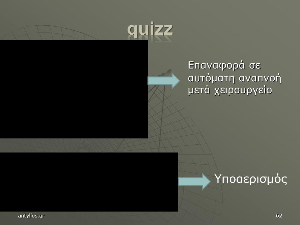 Επαναφορά σε αυτόματη αναπνοή μετά χειρουργείο Επαναφορά σε αυτόματη αναπνοή μετά χειρουργείο 62 Υποαερισμός antyllos.gr
