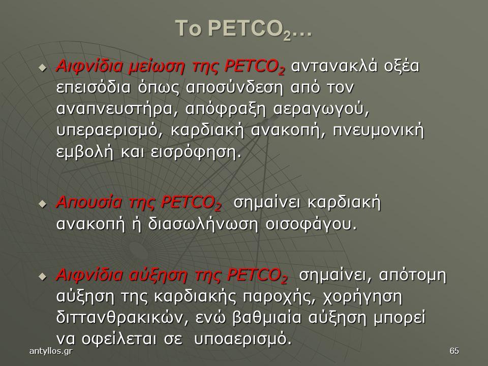 65  Αιφνίδια μείωση της PΕΤCO 2 αντανακλά οξέα επεισόδια όπως αποσύνδεση από τον αναπνευστήρα, απόφραξη αεραγωγού, υπεραερισμό, καρδιακή ανακοπή, πνευμονική εμβολή και εισρόφηση.
