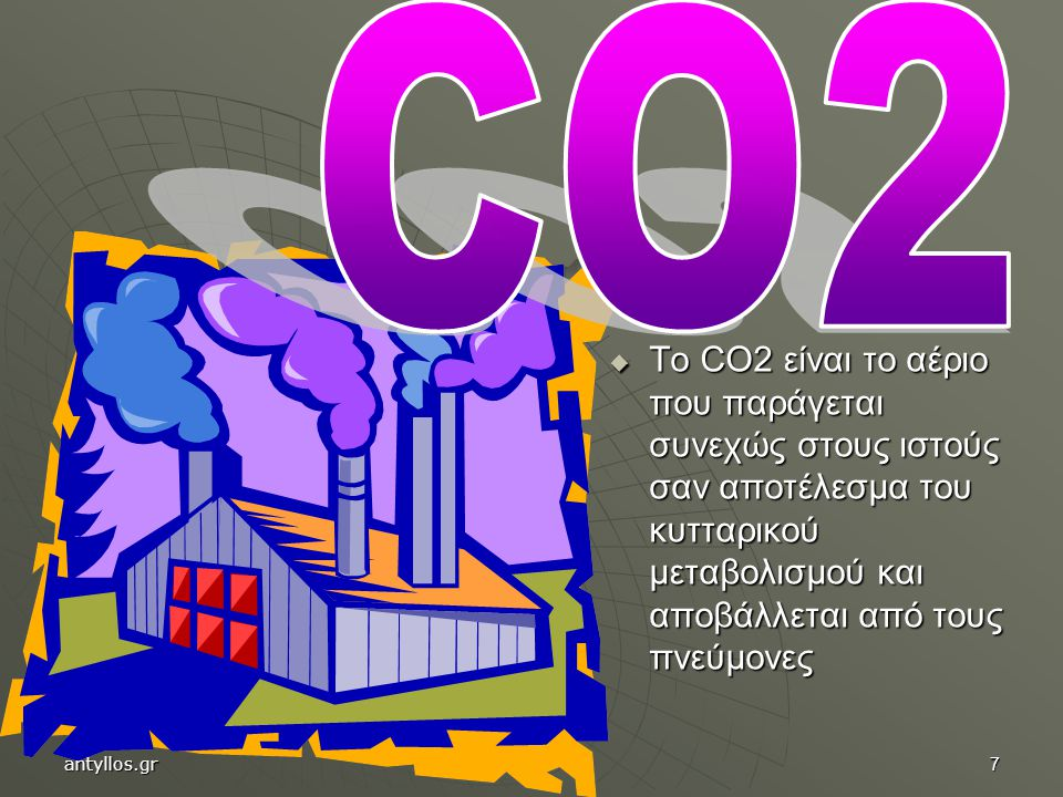 7  Το CO2 είναι το αέριο που παράγεται συνεχώς στους ιστούς σαν αποτέλεσμα του κυτταρικού μεταβολισμού και αποβάλλεται από τους πνεύμονες antyllos.gr