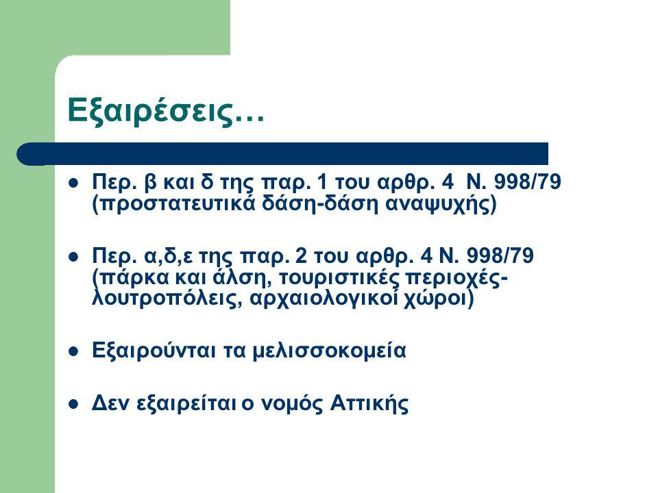 Εξαιρέσεις… Περ. β και δ της παρ. 1 του αρθρ. 4 Ν. 998/79 (προστατευτικά δάση-δάση αναψυχής) Περ. α,δ,ε της παρ. 2 του αρθρ. 4 Ν. 998/79 (πάρκα και άλ