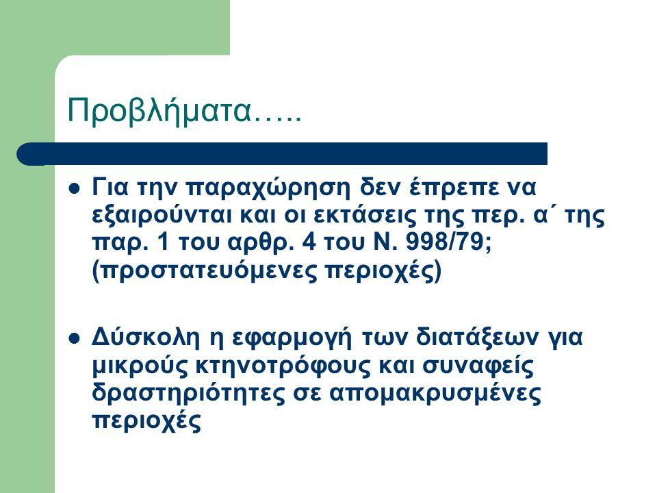 Προβλήματα….. Για την παραχώρηση δεν έπρεπε να εξαιρούνται και οι εκτάσεις της περ. α΄ της παρ. 1 του αρθρ. 4 του Ν. 998/79; (προστατευόμενες περιοχές