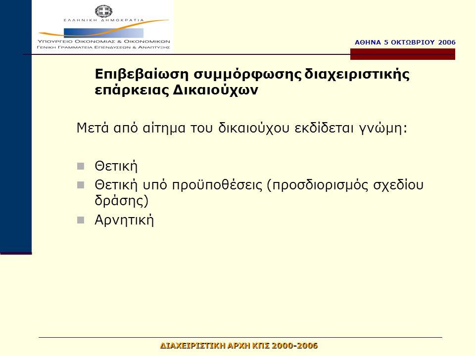 ΑΘΗΝΑ 5 ΟΚΤΩΒΡΙΟΥ 2006 ΔΙΑΧΕΙΡΙΣΤΙΚΗ ΑΡΧΗ ΚΠΣ 2000-2006 Επιβεβαίωση συμμόρφωσης διαχειριστικής επάρκειας Δικαιούχων Μετά από αίτημα του δικαιούχου εκδίδεται γνώμη: Θετική Θετική υπό προϋποθέσεις (προσδιορισμός σχεδίου δράσης) Αρνητική