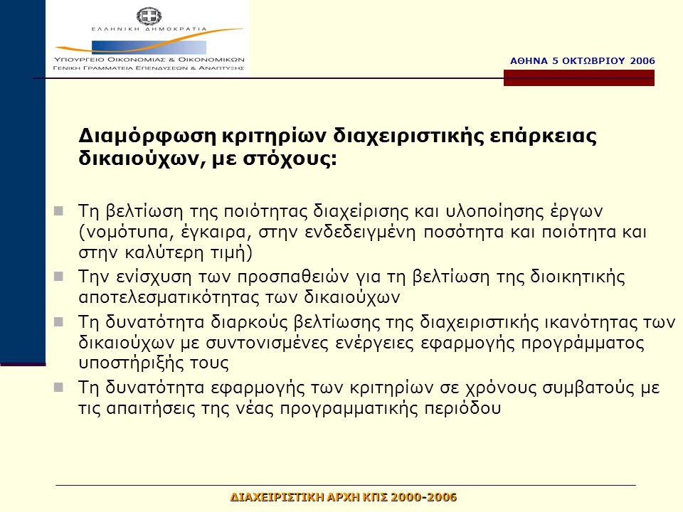 ΑΘΗΝΑ 5 ΟΚΤΩΒΡΙΟΥ 2006 ΔΙΑΧΕΙΡΙΣΤΙΚΗ ΑΡΧΗ ΚΠΣ 2000-2006 Διαμόρφωση κριτηρίων διαχειριστικής επάρκειας δικαιούχων, με στόχους: Τη βελτίωση της ποιότητας διαχείρισης και υλοποίησης έργων (νομότυπα, έγκαιρα, στην ενδεδειγμένη ποσότητα και ποιότητα και στην καλύτερη τιμή) Την ενίσχυση των προσπαθειών για τη βελτίωση της διοικητικής αποτελεσματικότητας των δικαιούχων Τη δυνατότητα διαρκούς βελτίωσης της διαχειριστικής ικανότητας των δικαιούχων με συντονισμένες ενέργειες εφαρμογής προγράμματος υποστήριξής τους Τη δυνατότητα εφαρμογής των κριτηρίων σε χρόνους συμβατούς με τις απαιτήσεις της νέας προγραμματικής περιόδου