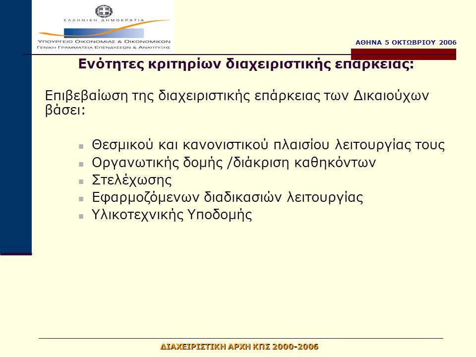 ΑΘΗΝΑ 5 ΟΚΤΩΒΡΙΟΥ 2006 ΔΙΑΧΕΙΡΙΣΤΙΚΗ ΑΡΧΗ ΚΠΣ 2000-2006 Επιβεβαίωση της διαχειριστικής επάρκειας των Δικαιούχων βάσει: Θεσμικού και κανονιστικού πλαισ