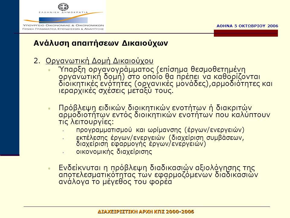 ΑΘΗΝΑ 5 ΟΚΤΩΒΡΙΟΥ 2006 ΔΙΑΧΕΙΡΙΣΤΙΚΗ ΑΡΧΗ ΚΠΣ 2000-2006 Ανάλυση απαιτήσεων Δικαιούχων 2.Οργανωτική Δομή Δικαιούχου Ύπαρξη οργανογράμματος (επίσημα θεσμοθετημένη οργανωτική δομή) στο οποίο θα πρέπει να καθορίζονται διοικητικές ενότητες (οργανικές μονάδες),αρμοδιότητες και ιεραρχικές σχέσεις μεταξύ τους.