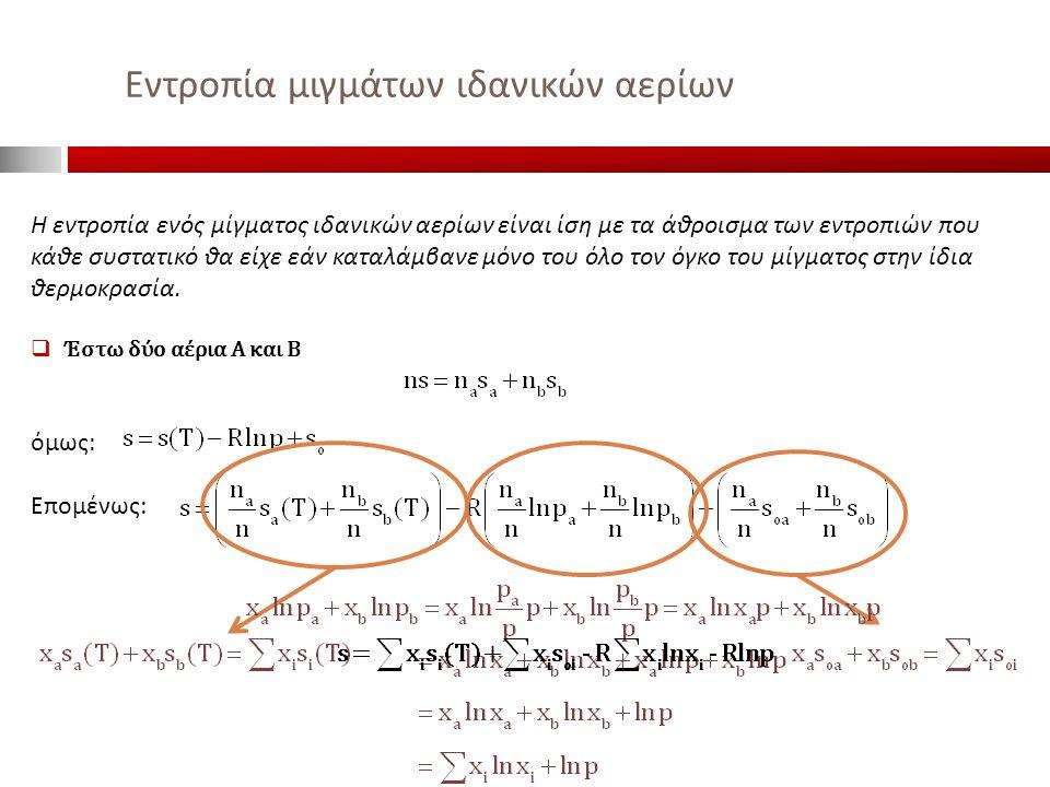Εντροπία μιγμάτων ιδανικών αερίων Η εντροπία ενός μίγματος ιδανικών αερίων είναι ίση με τα άθροισμα των εντροπιών που κάθε συστατικό θα είχε εάν καταλ
