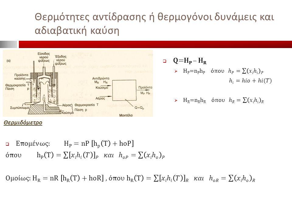 Θερμότητες αντίδρασης ή θερμογόνοι δυνάμεις και αδιαβατική καύση Θερμιδόμετρο
