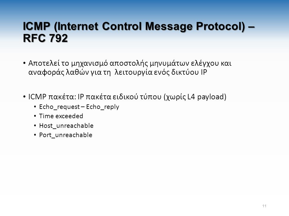 ICMP (Internet Control Message Protocol) – RFC 792 Αποτελεί το μηχανισμό αποστολής μηνυμάτων ελέγχου και αναφοράς λαθών για τη λειτουργία ενός δικτύου IP ICMP πακέτα: IP πακέτα ειδικού τύπου (χωρίς L4 payload) Echo_request – Echo_reply Time exceeded Host_unreachable Port_unreachable 11