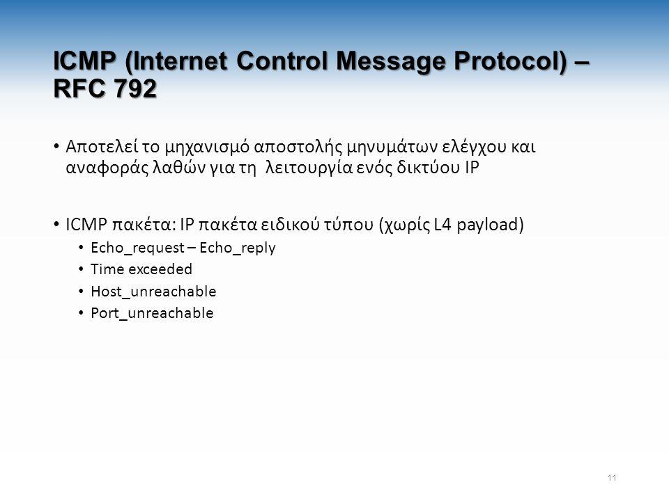 ICMP (Internet Control Message Protocol) – RFC 792 Αποτελεί το μηχανισμό αποστολής μηνυμάτων ελέγχου και αναφοράς λαθών για τη λειτουργία ενός δικτύου