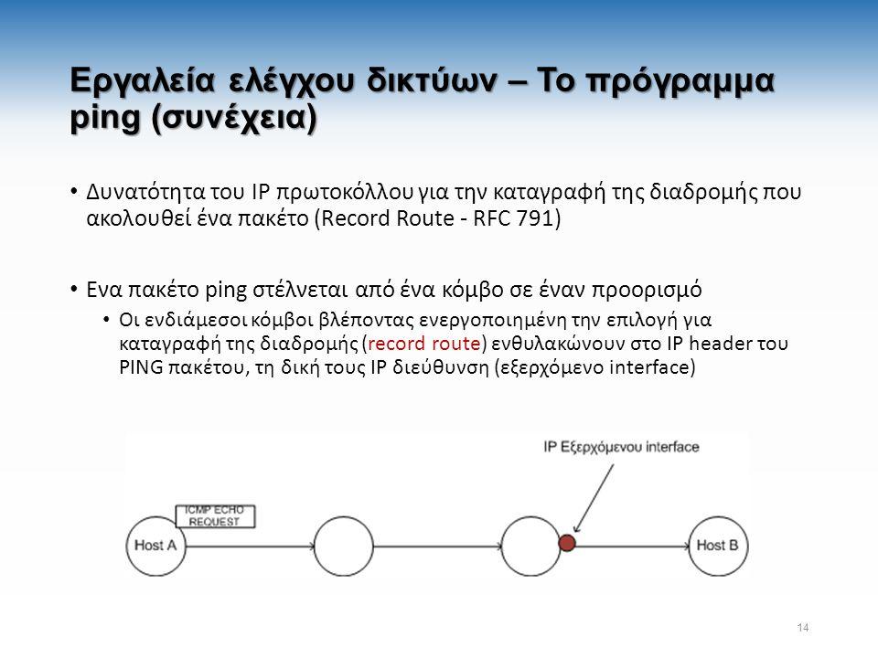 Εργαλεία ελέγχου δικτύων – Το πρόγραμμα ping (συνέχεια) Δυνατότητα του IP πρωτοκόλλου για την καταγραφή της διαδρομής που ακολουθεί ένα πακέτο (Record Route - RFC 791) Ενα πακέτο ping στέλνεται από ένα κόμβο σε έναν προορισμό Οι ενδιάμεσοι κόμβοι βλέποντας ενεργοποιημένη την επιλογή για καταγραφή της διαδρομής (record route) ενθυλακώνουν στο IP header του PING πακέτου, τη δική τους IP διεύθυνση (εξερχόμενο interface) 14