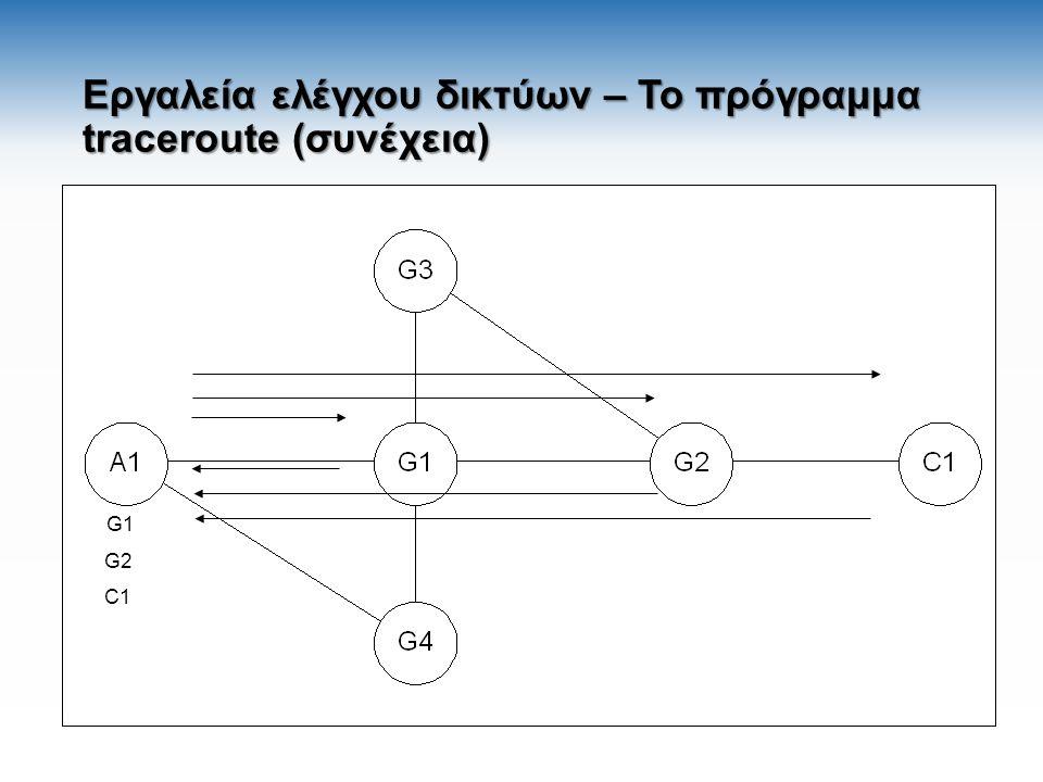 Εργαλεία ελέγχου δικτύων – Το πρόγραμμα traceroute (συνέχεια) G1 G2 C1