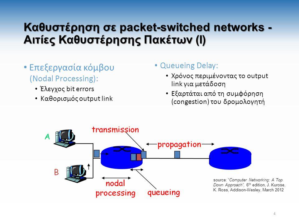 Καθυστέρηση σε packet-switched networks - Αιτίες Καθυστέρησης Πακέτων (Ι) Επεξεργασία κόμβου (Nodal Processing): Έλεγχος bit errors Καθορισμός output link Queueing Delay: Χρόνος περιμένοντας το output link για μετάδοση Εξαρτάται από τη συμφόρηση (congestion) του δρομολογητή 4 source: Computer Networking: A Top Down Approach , 6 th edition, J.