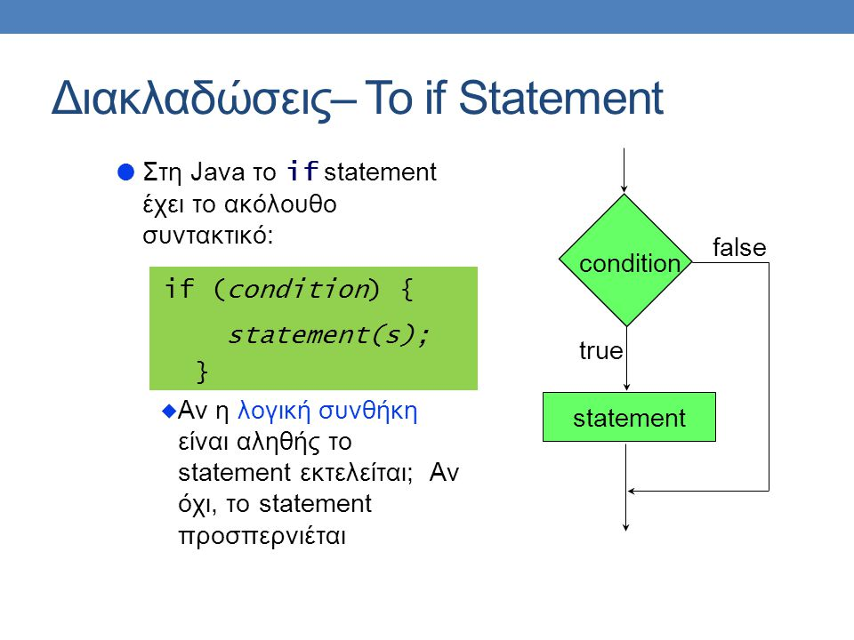  Στη Java το if statement έχει το ακόλουθο συντακτικό: if (condition) { statement(s); }  Αν η λογική συνθήκη είναι αληθής το statement εκτελείται; Αν όχι, το statement προσπερνιέται Διακλαδώσεις– Το if Statement statement condition false true