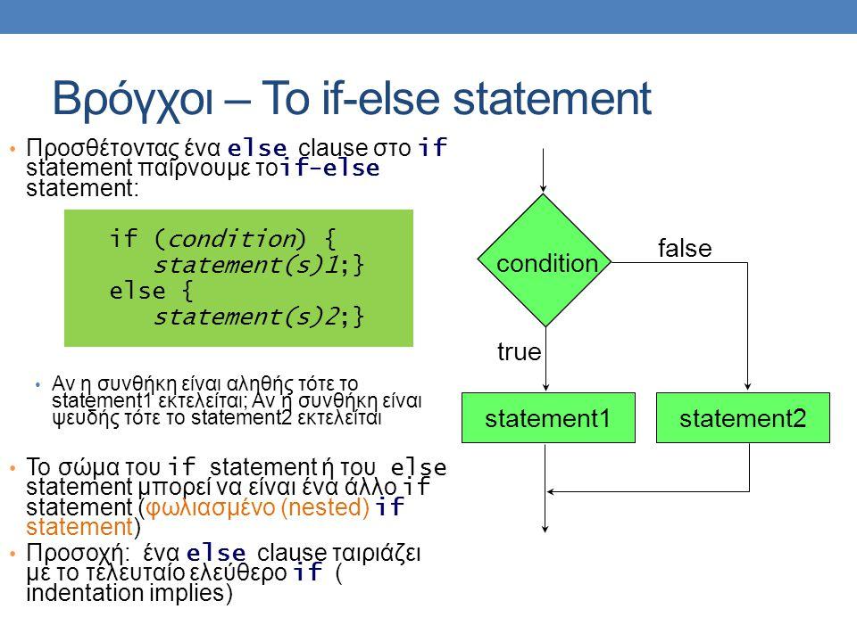 Βρόγχοι – Το if-else statement Προσθέτοντας ένα else clause στο if statement παίρνουμε το if-else statement: if (condition) { statement(s)1;} else { statement(s)2;} Αν η συνθήκη είναι αληθής τότε το statement1 εκτελείται; Αν η συνθήκη είναι ψευδής τότε το statement2 εκτελείται Το σώμα του if statement ή του else statement μπορεί να είναι ένα άλλο if statement (φωλιασμένο (nested) if statement) Προσοχή: ένα else clause ταιριάζει με το τελευταίο ελεύθερο if ( indentation implies) statement1 condition false true statement2