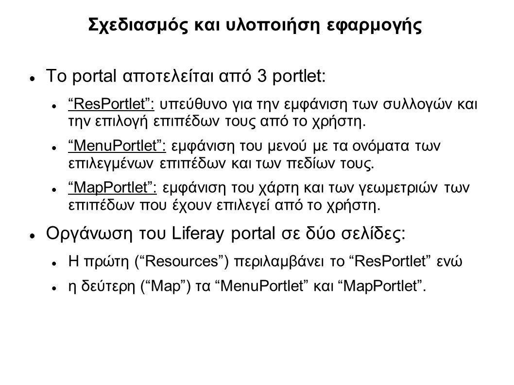 """Σχεδιασμός και υλοποιήση εφαρμογής Το portal αποτελείται από 3 portlet: """"ResPortlet"""": υπεύθυνο για την εμφάνιση των συλλογών και την επιλογή επιπέδων"""