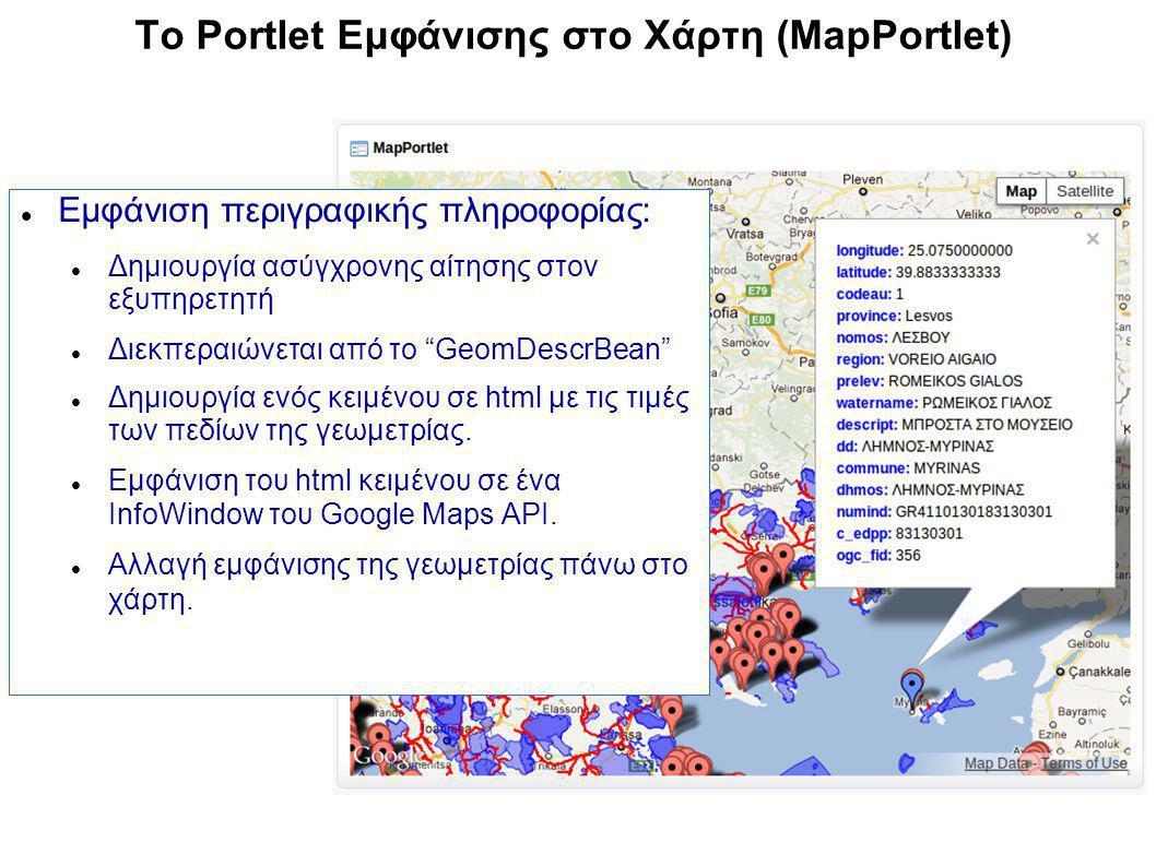 To Portlet Εμφάνισης στο Χάρτη (MapPortlet) Εμφάνιση περιγραφικής πληροφορίας: Δημιουργία ασύγχρονης αίτησης στον εξυπηρετητή Διεκπεραιώνεται από το GeomDescrBean Δημιουργία ενός κειμένου σε html με τις τιμές των πεδίων της γεωμετρίας.