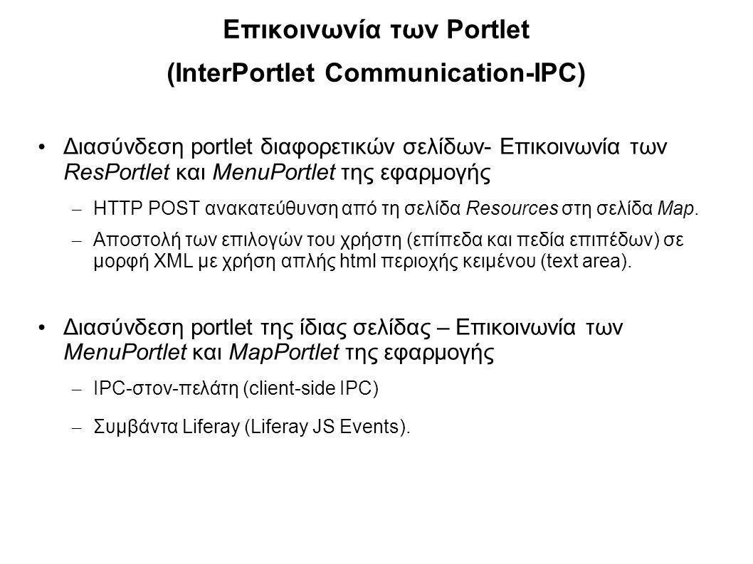 Επικοινωνία των Portlet (InterPortlet Communication-IPC) Διασύνδεση portlet διαφορετικών σελίδων- Επικοινωνία των ResPortlet και MenuPortlet της εφαρμ