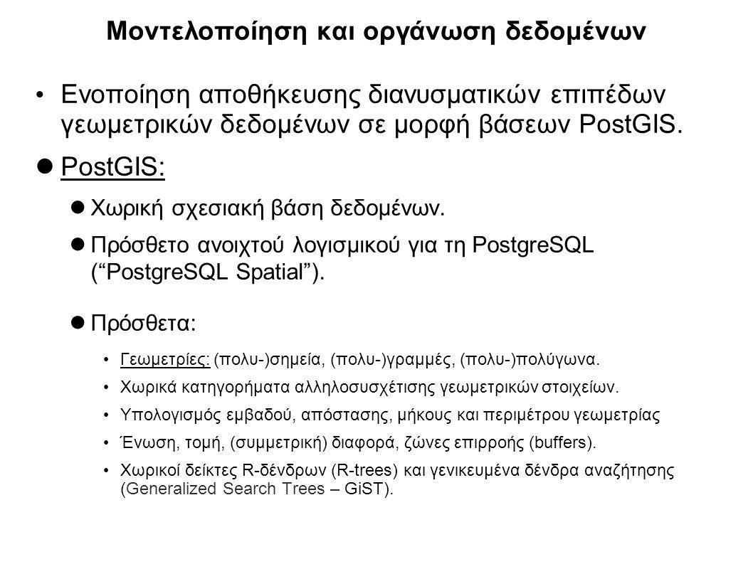 Μοντελοποίηση και οργάνωση δεδομένων Ενοποίηση αποθήκευσης διανυσματικών επιπέδων γεωμετρικών δεδομένων σε μορφή βάσεων PostGIS. PostGIS: Χωρική σχεσι