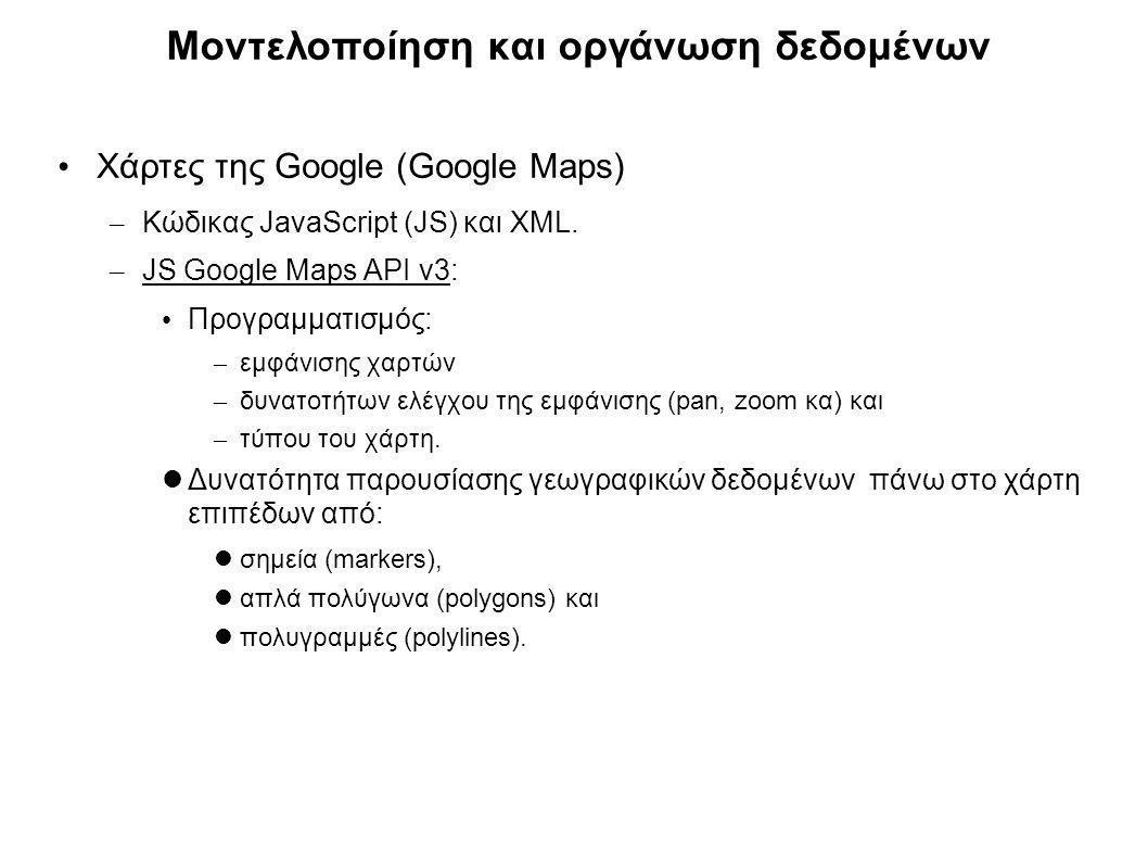 Μοντελοποίηση και οργάνωση δεδομένων Χάρτες της Google (Google Maps) – Κώδικας JavaScript (JS) και XML. – JS Google Maps API v3: Προγραμματισμός: – εμ