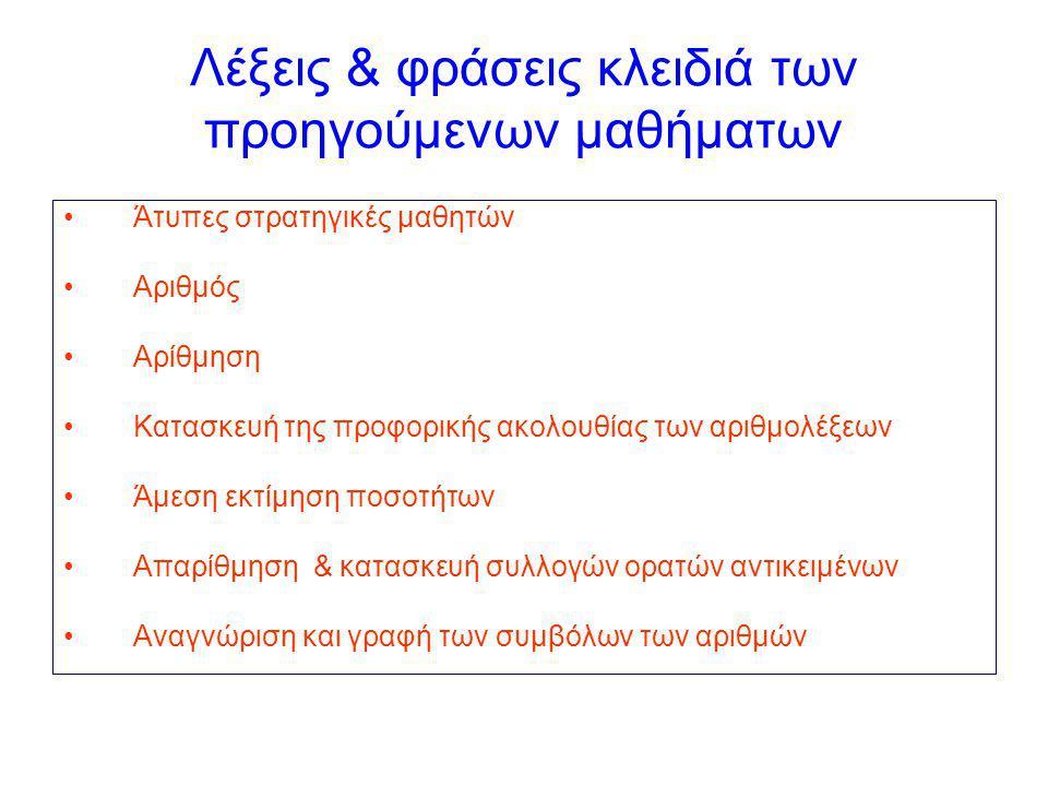 Λέξεις & φράσεις κλειδιά των προηγούμενων μαθήματων Άτυπες στρατηγικές μαθητών Αριθμός Αρίθμηση Κατασκευή της προφορικής ακολουθίας των αριθμολέξεων Άμεση εκτίμηση ποσοτήτων Απαρίθμηση & κατασκευή συλλογών ορατών αντικειμένων Αναγνώριση και γραφή των συμβόλων των αριθμών